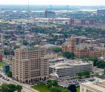 View of Wayne State Campus skyline