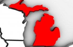 Michigan on map in red